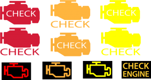 different check engine symbols and colors